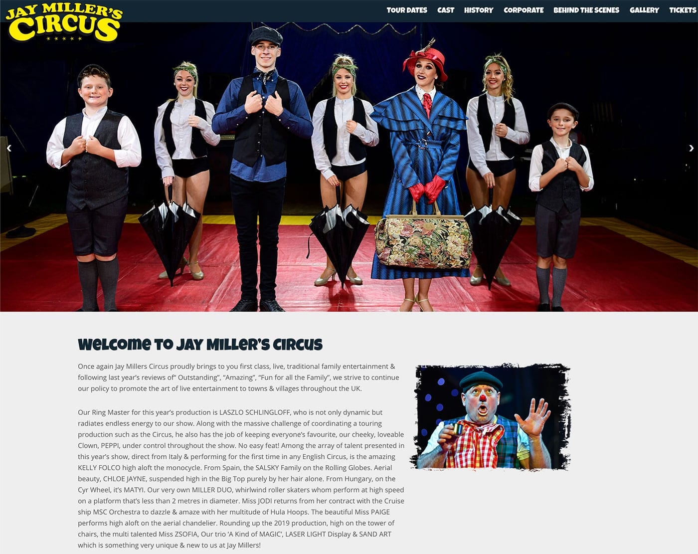 Jay Millers Circus Website 2019